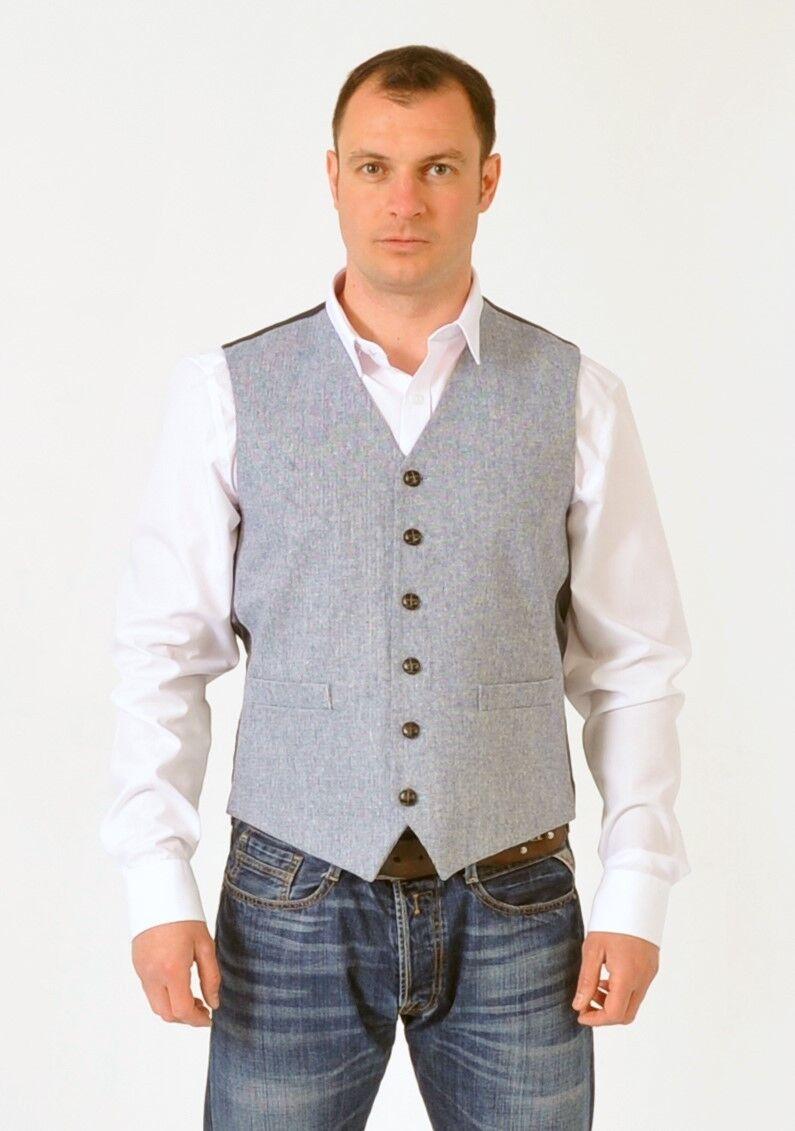 ( WW108/3 ) Semi-Plain Grey Wool Mix New Waistcoat Vest to clear