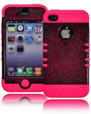 Hybrid Hard Glitter Sparkle Case Cove+Protective Pink Silicone for iPhone 4, 4s