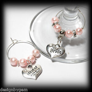 Dark Green Pearl Personalised Wedding Family Top Table Party Wine Glass Charms