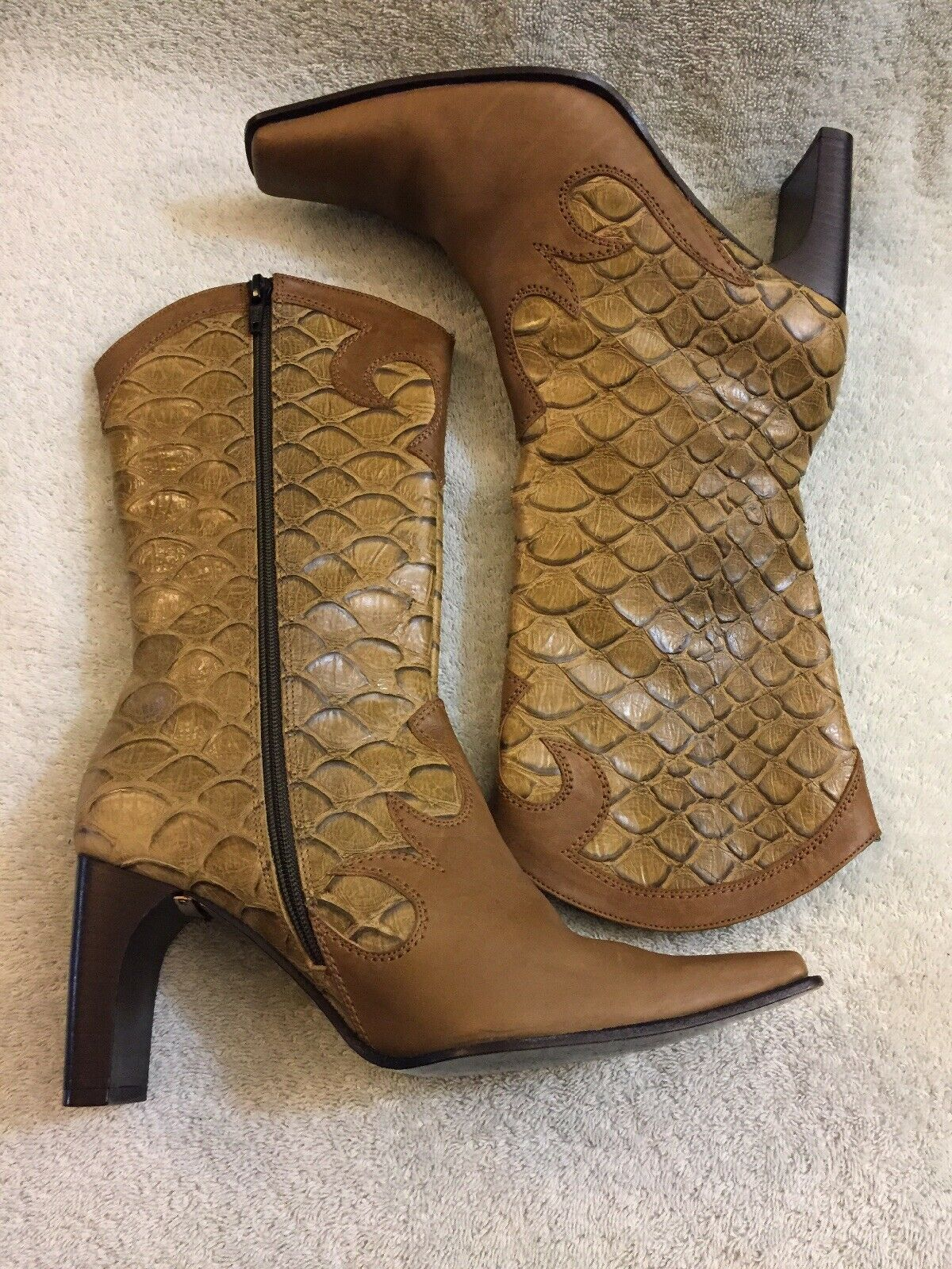 Besso Crocodile Olive Green Brown Womens Boots Made In In In  Size Eu 37 Us 6 7 d7ac02