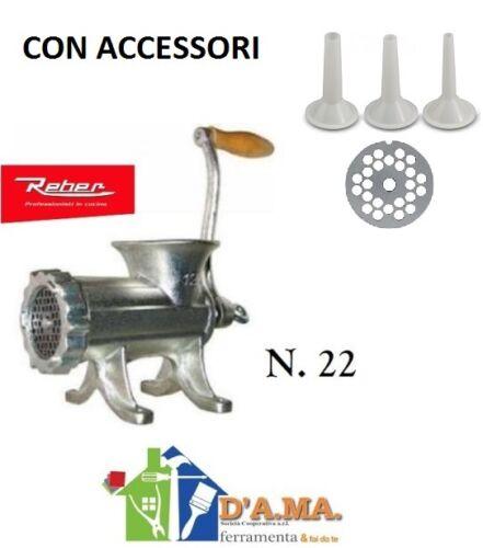 Tritacarne casalinga manuale n22 reber in ghisa 3 trafile in acciaio e 3 imbuti