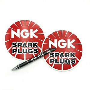 Set-of-2-NGK-Spark-Plugs-5-034-Round-Vinyl-Decal-Tool-Box-Sticker-Emblem-Pen