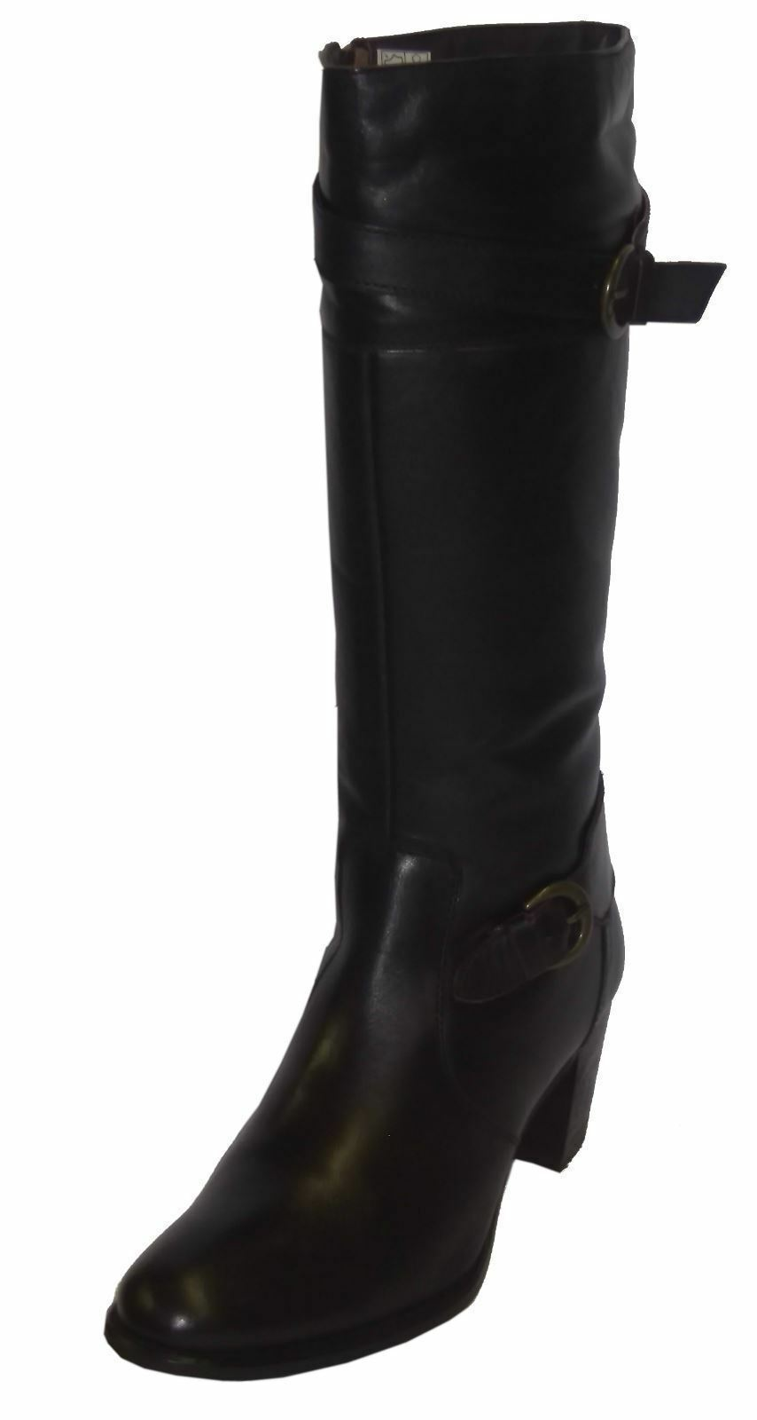Ladies 2080 Zip-Up Marrón Leather Knee-High Heeled Zip-Up 2080 Bota by Damen Stiefel £35.00 c622c0