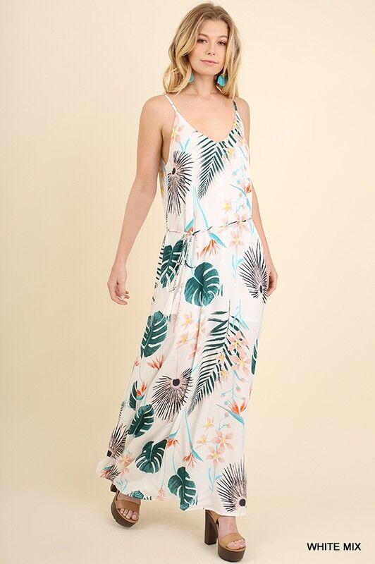 c3ede442d7d floral print spaghetti boho full maxi summer dress S M L strap UMGEE  nprzht4934-Dresses