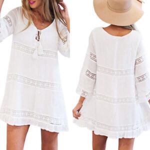 Women-Summer-Three-Quarter-Sleeve-V-Neck-Loose-Lace-Boho-Beach-Short-White-Dress