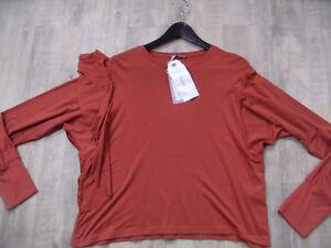 DIXIE-schoenes-Langarmshirt-mit-Volant-rostbraun-Gr-L-o-XL-NEU-ScM318