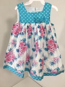 PUMPKIN-PATCH-INFANT-GIRLS-SQUARE-NECK-DRESS-AQUA-BLUE-PINK-WHT-6-12M-NWT