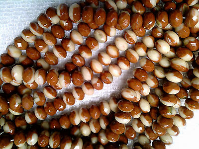 5001s8 Beige  with Bronze Ends  strand of 30 pieces 6x8mm  Firepolished Glass Donut Rondelle