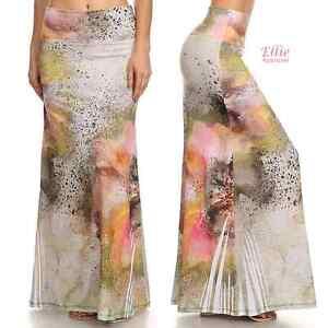 aa42d0a7cf92 Women's LONG SKIRT Floral Splash high waist Maxi (S/M/L/XL/1XL/2XL ...