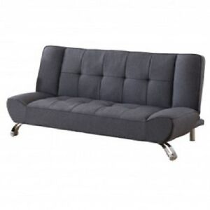 Image Is Loading Vogue Grey Futon Sofabed Fabric 3 Seater Double