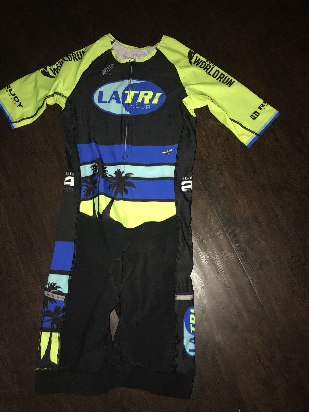 Uomo's Cycling Angeles Skinsuit Speedsuit Large L Los Angeles Cycling LA Triathlon Club Nuovo b251aa