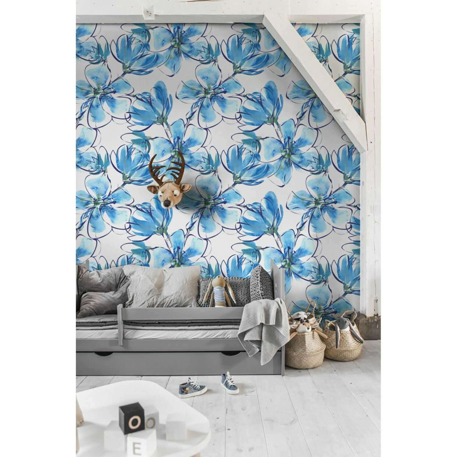 Blau Floral Non-Woven wallpaper waterFarbe feminine abstract painting Mural