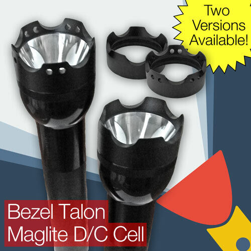 Crenellated Strike Bezel Talon Face Cap for Maglite D C Cell Torch Flashlight