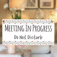 meeting in progress do not disturb wood shop door hanging sign