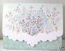 Carol Wilson 10 Blank Note Card Lace Borders Stationery Aqua Heart Flowers New
