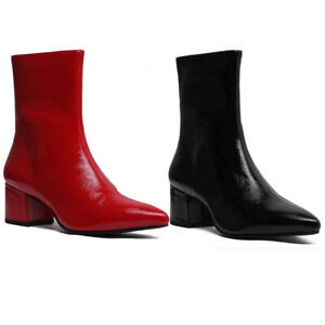d7443da5fe0 Details about Vagabond Mya Women Leather Pointed Ankle boots In Red Patent  Size UK 3 - 8