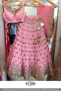 a6111f68a Pink mirror Work Bollywood Party Lengha Ceremony Indian Ethnic ...