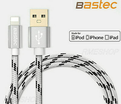 Genuine 1.5M Bastec Nylon iPhone X 8 7 6S 6 5S 5C 5 iPad Charge Date USB Cable