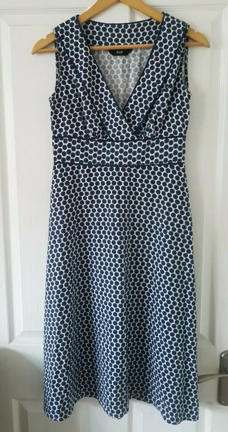 Ladies F&F Blue and White Polka Dot Linen-Style Dress - Size 12 UK - excellent