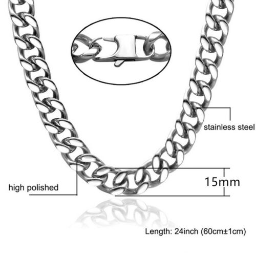 Mens Necklace Chain Silver Tone Stainless Steel Curb Link Bracelet for Cool Men