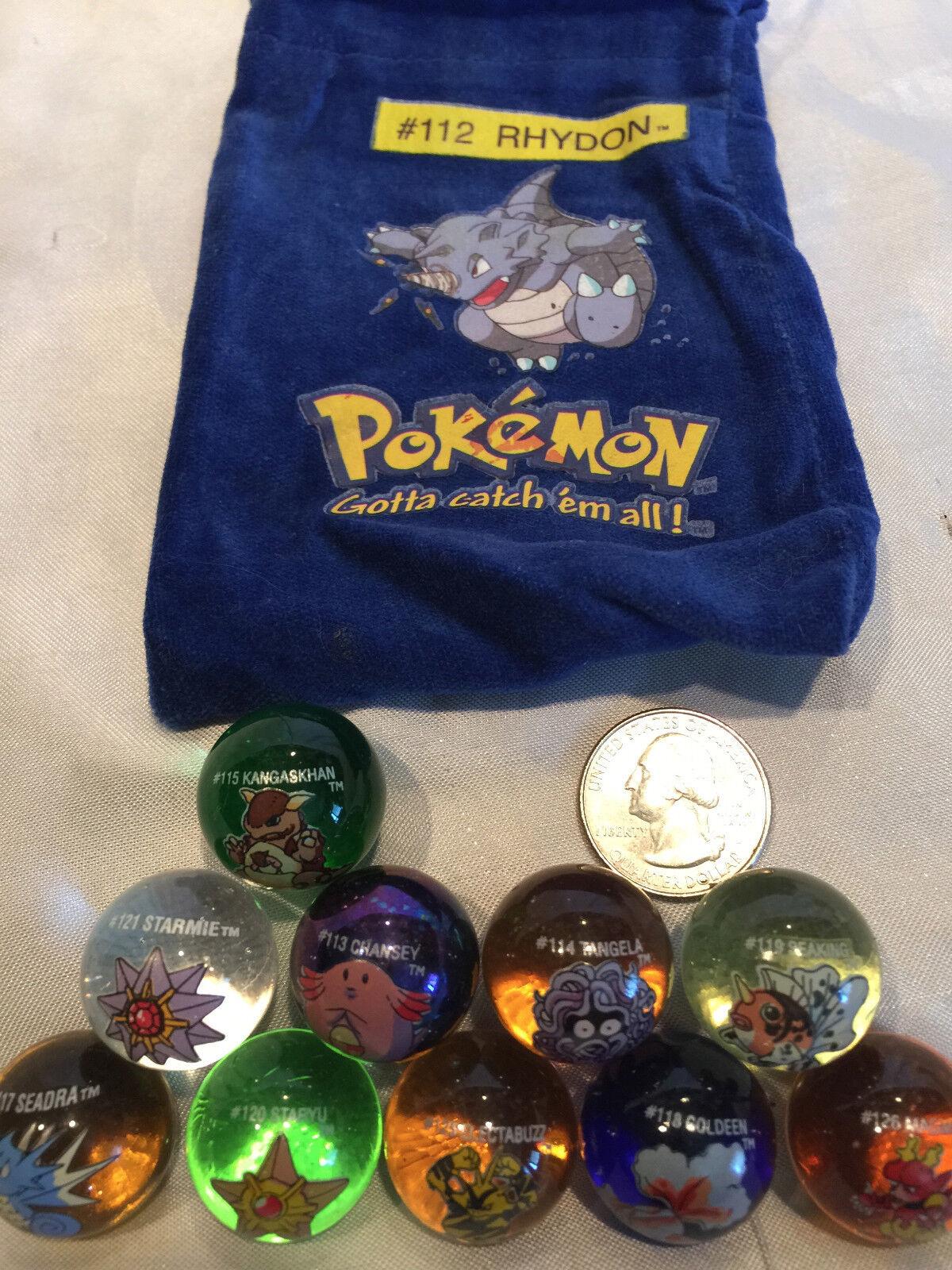 Lote mixto de 10 mármoles coleccionables Vintage Pokemon Vidrio Shooter Bolsa  112