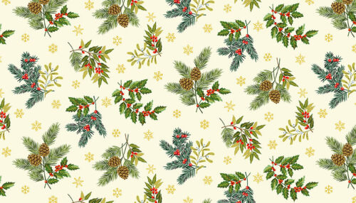 Metres Sewing,Craft Christmas Foliage Cream cotton fabric Makower FQs 1//2 metre