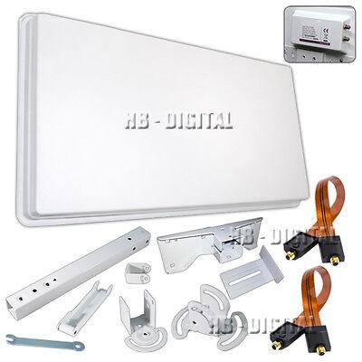 Digital SAT Flachantenne Megasat H30D2 mit Fensterhalterung 2 Teilnehmer HDTV 3D