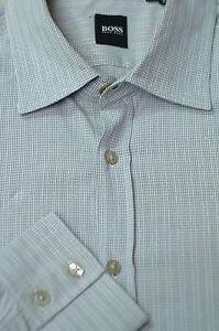 Hugo-Boss-Men-039-s-Gray-Check-Pearl-Stripe-Cotton-Casual-Shirt-XL-XLarge