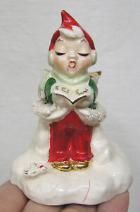 Vintage-Christmas-Elf-Angel-Bell-Holds-Open-Book-1950s