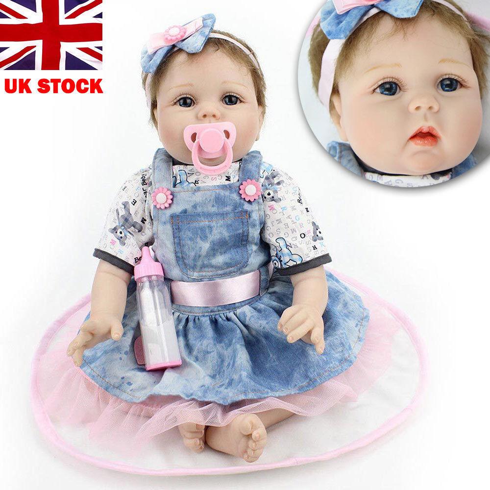 VINYL SILICONE reborn doll Real Life Like dall'aspetto 22 pollici da neonato Carino Dolls