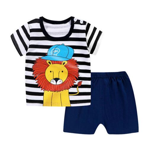Kids Unisex Cartoon Short Sleeve T-Shirt Top Shorts Outfits Cotton Blends Set