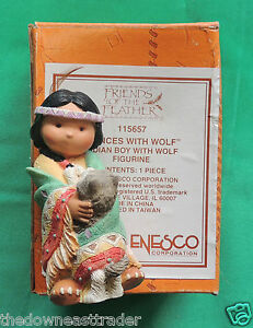 Dances With Wolf Indian Boy With Wolf Friends of the Feather Figurine 115657 MIB