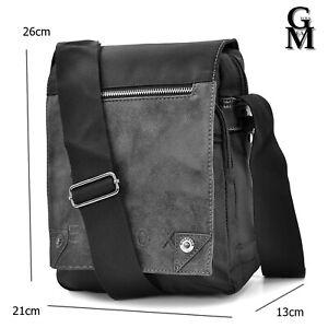 Borsello ELIOX nero grigio uomo borsa grande capiente zip tracolla pelle nylon