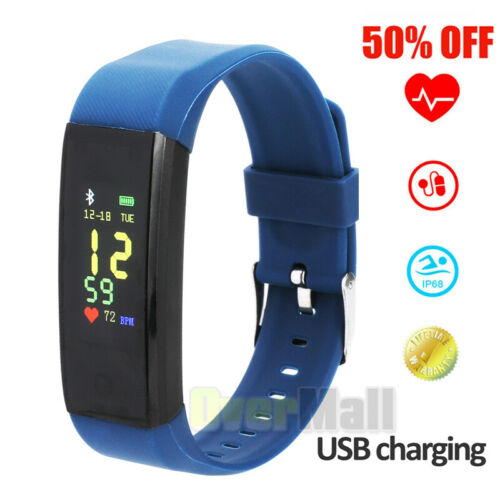 USB Rechargeable BT Waterproof Fit**bit Fitness Heart Rate Calorie Step Tracker