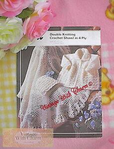 Vintage-Knitting-Pattern-Baby-039-s-Coat-amp-Bonnet-Shawl-Crochet-Pattern-NO-UK-P-amp-P