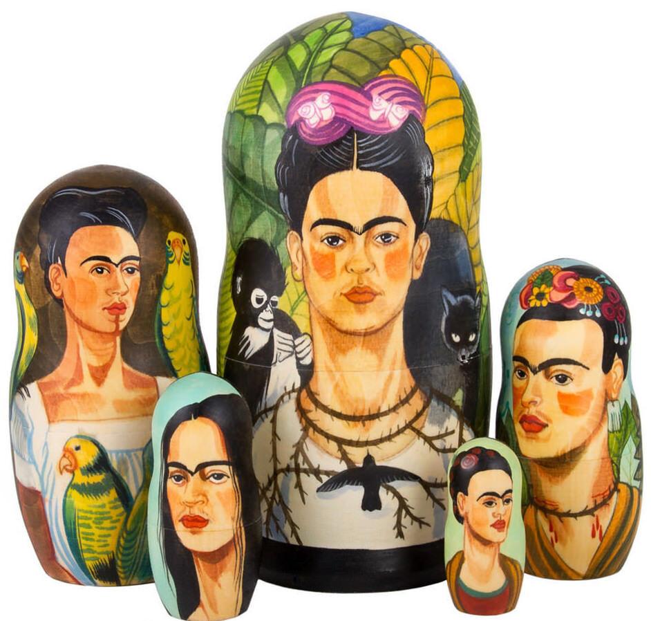 Frida Kahlo POUPEE RUSSE Matriochka Peinte à la main en Russie Empilage Poupée