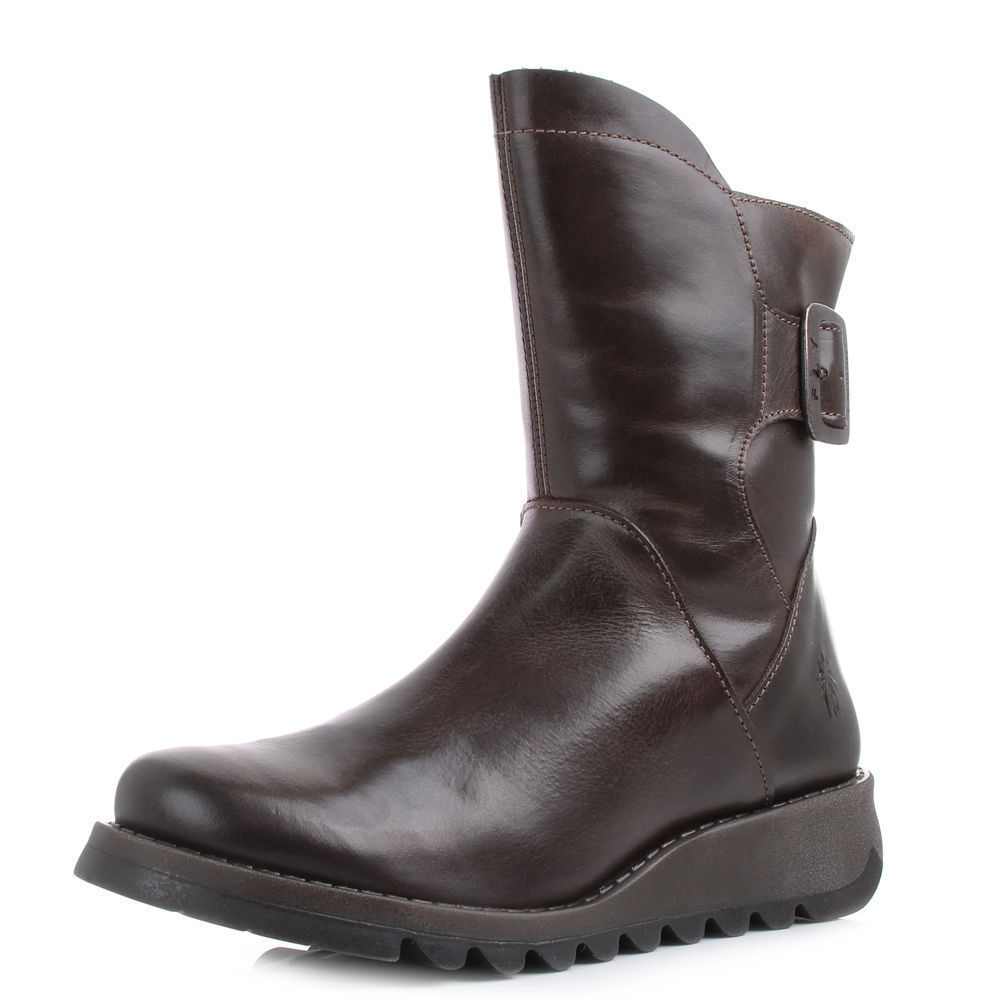 Fly London women Sien brown brown brown scuro in pelle stivali NUOVO 7d2860