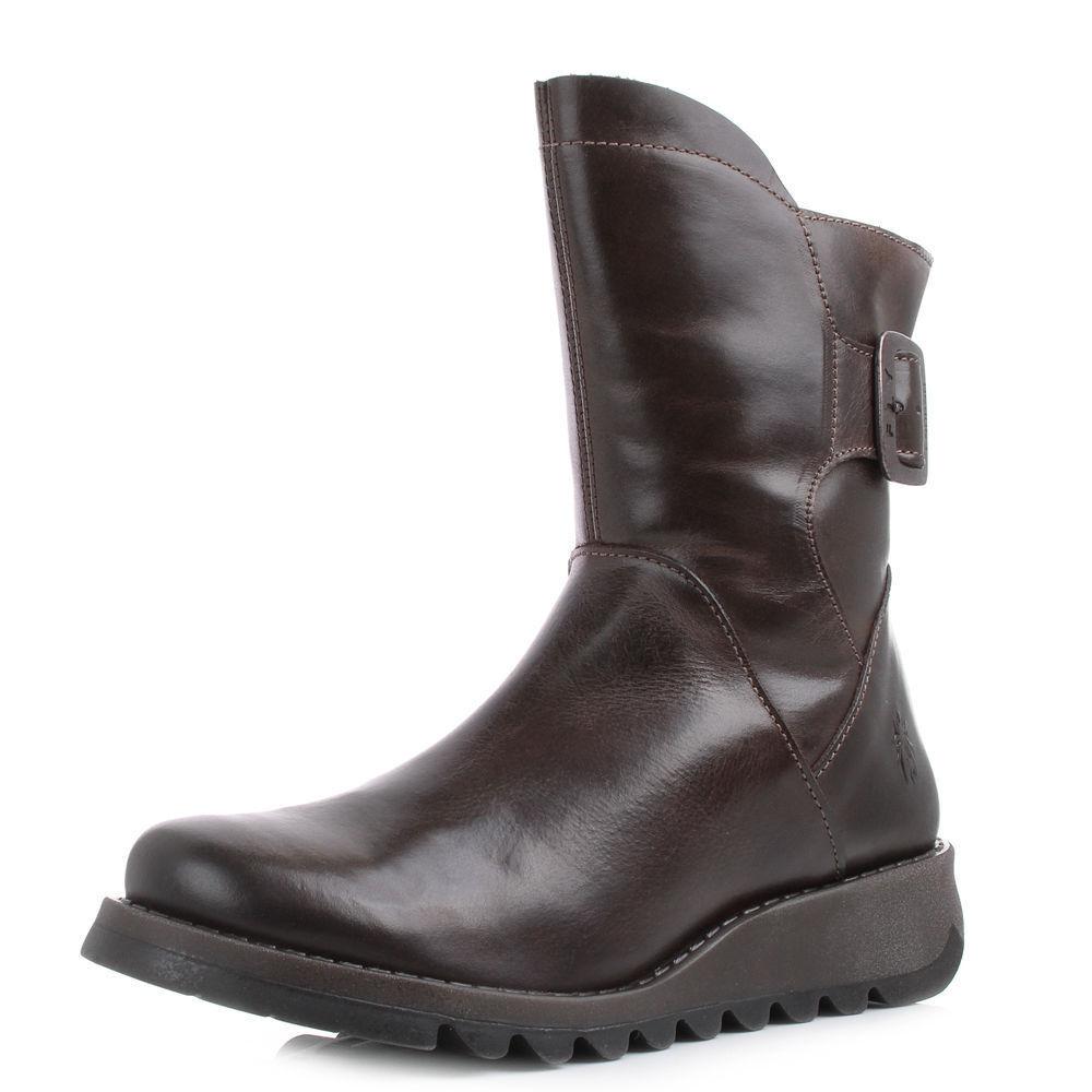 Grandes zapatos con descuento Fly London Mujer sien Marrón Oscuro Botas de piel NUEVO