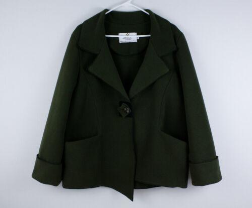 JANSKA Fleece Coat Sweater Pockets Square Button W