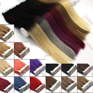 20PCS-EXTENSION-TAPE-BANDE-ADHESIVE-CHEVEUX-100-NATURELS-INDIAN-REMY-Ombre-HAIR