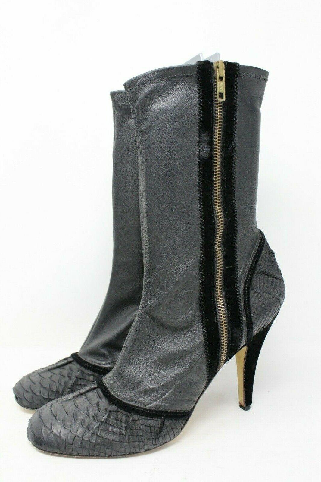 BCBGMAXAZRIA Leather Velvet Trim Cap Toe Ankle Boot Black gold - 9 US NEW