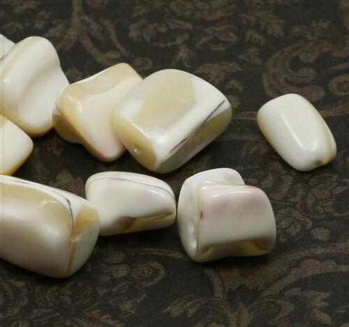 30g concha chips perlas nuggets madreperla joyas DIY bricolaje blanco 10-20mm sb141