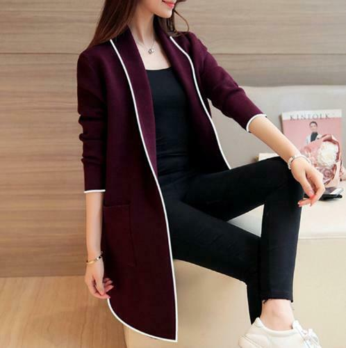 Fashion Women Office Coat Medium-length Cardigan loosely Long-sleeved Coat Q