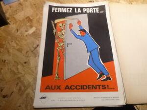 Affiche-Serigraphie-Prevention-Securite-70-039-s-AINF-RARE-la-mort-squelette