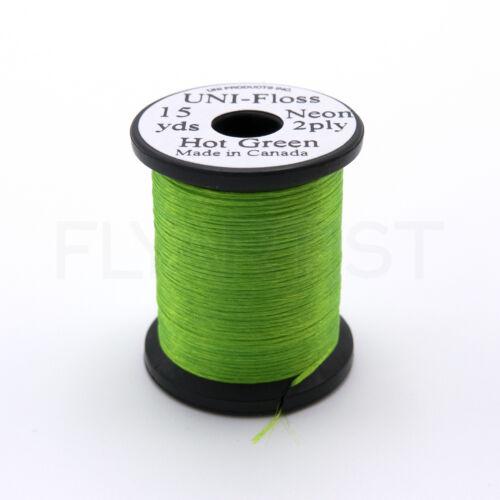 600 deniers bobines de 15 Yd Uni Néon Floss-Fluorescent fly tying material NOUVEAU! environ 13.72 m