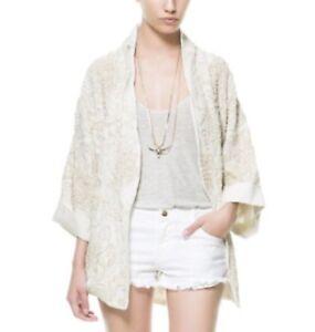 Zara Woman Ecru Embroidered Embellished Kimono Jacket, Size Medium, Nwt by Zara