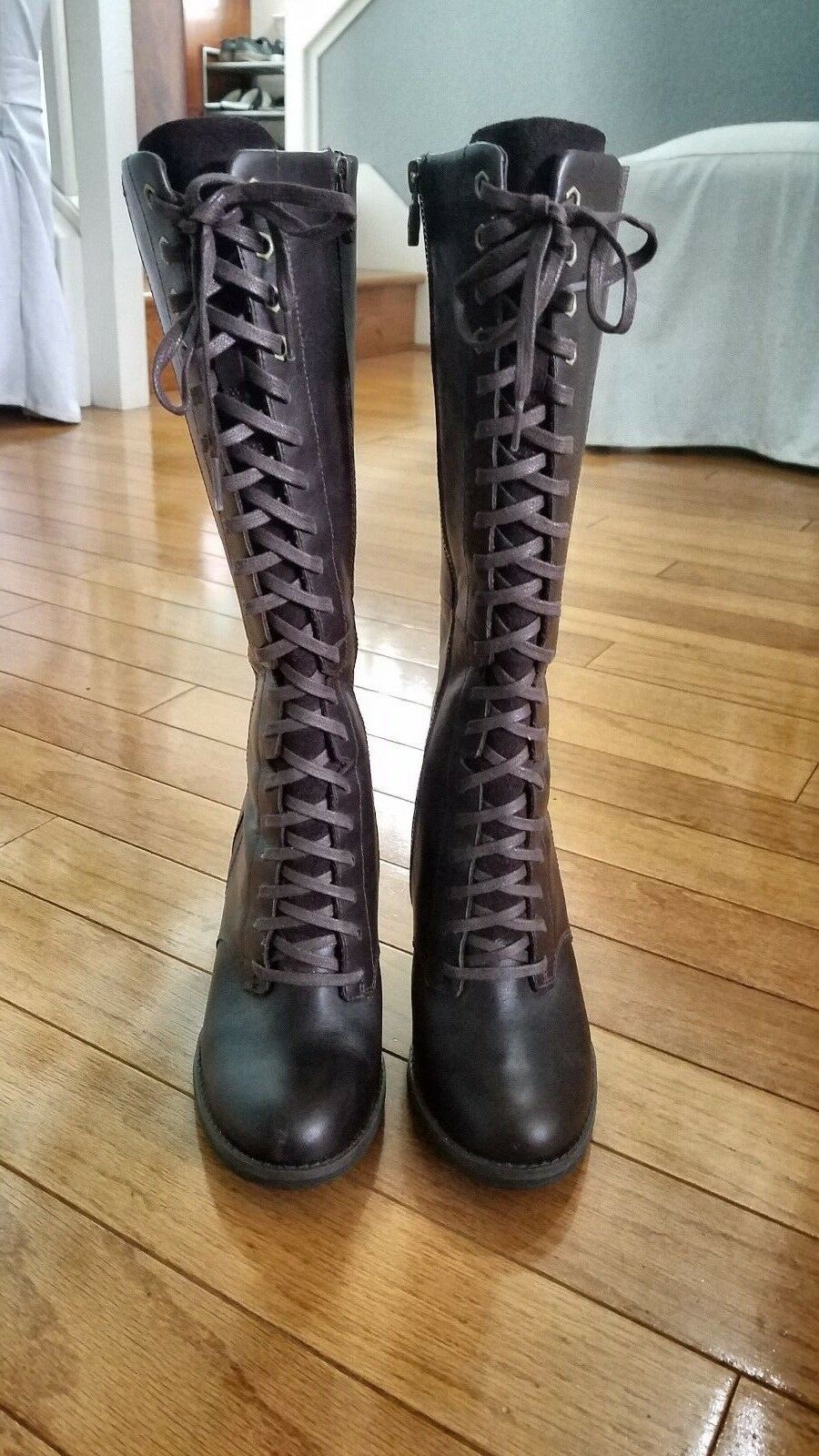 TIMBERLAND - Dark Brown Stratham Heights Sexy Lace Up Boots - Size 6.5 (US)