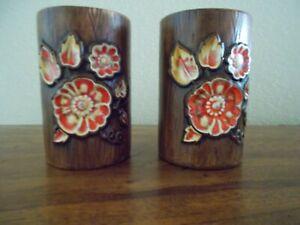 VTG-Treasure-Craft-Pottery-Orange-Floral-Salt-amp-Pepper-Shakers-Original-plugs