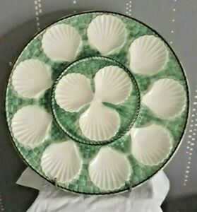 Antique-LARGE-13-034-French-Majolica-Oyster-Plate-Platter-LONGCHAMP-France-1940