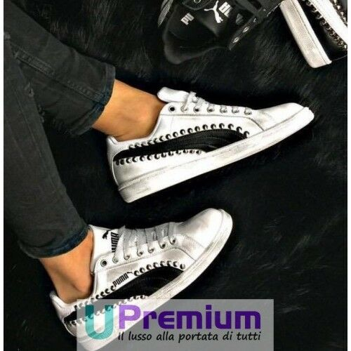 Puma Cuir Smash Cloutés Lux Blanc Noir Cuir Puma ORIGINAL ITALIE 2018 Homme Femme 3a6479